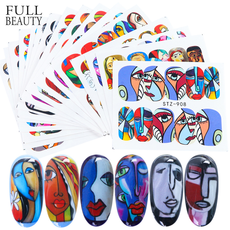 16pcs Colorful Human Face Nail Art Sticker Full Wraps Set Girl Tattoo Manicure Tips Nail Water Decals Accessories CHSTZ906-921-1