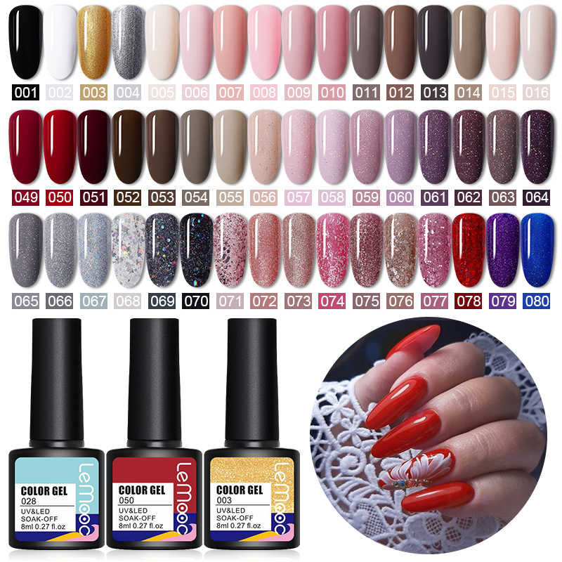 Lemooc 8Ml Nail Gel Polish Uv/Led Gel Verdwijnen Voor Losweken Semi Permanente Hybrid Nagel Gel Lak base Top Matte Jas