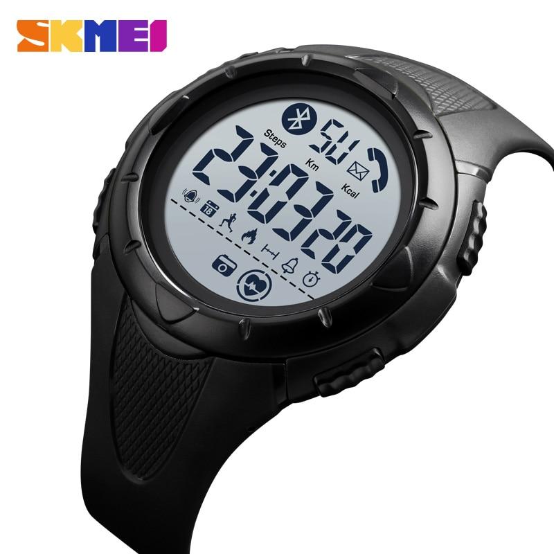 SKMEI Sport Smart Men Watch Waterproof Light Display Heart rate Bluetooth  App Remind Sleeping Monitor reloj inteligente 1542 1