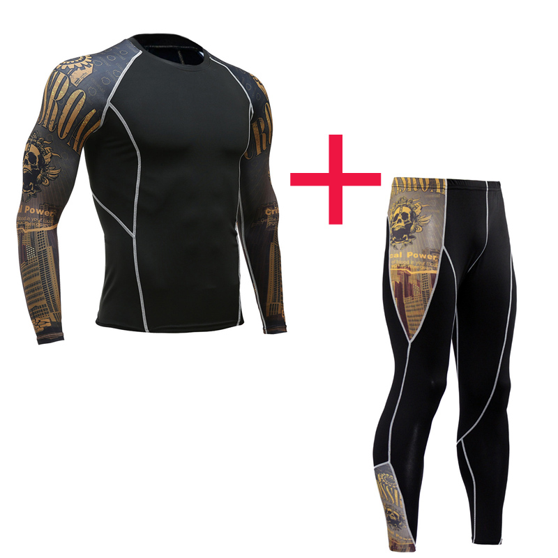 Men Fitness Sportswear  Compression Tights Men Running Set Base Layer Thermal Underwear Xxxxl T-shirt Long Basketball Leggings