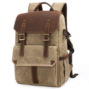 Promotion--Multifunctional Batik Canvas Camera Backpack Dslr Camera Bag Outdoor Waterproof Large Capacity Photography Bag for Ca