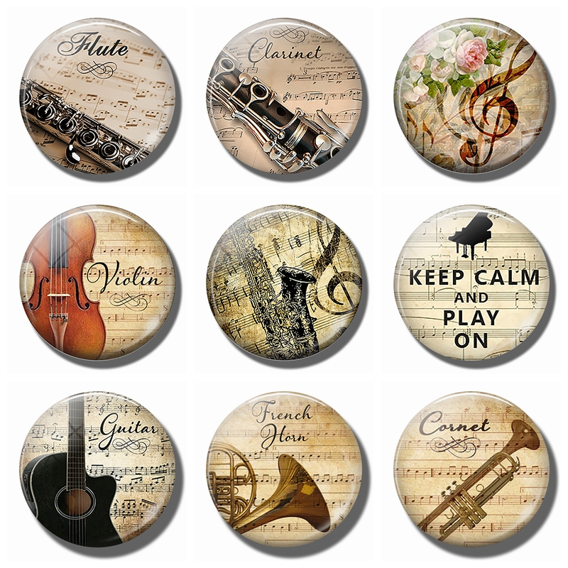 Flute and Music 30MM Glass Refrigerator Magnets violin Saxophone guitar Musical notes Magnetic Stickers for Fridge Musician gift