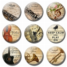 Flute and Music 30MM Glass Refrigerator Magnets violin Saxophone guitar Musical notes Magnetic Stickers for Fridge Musician gift james russell lowell fireside fravels page 9 page 5 page 8 page 4 page 6 page 10