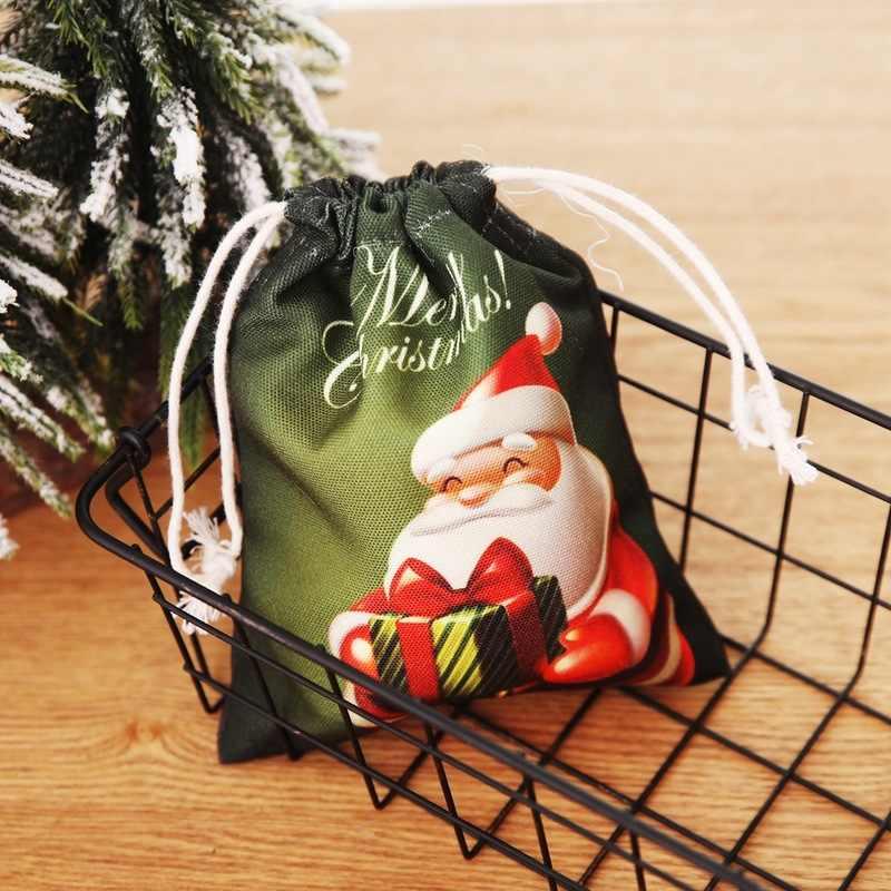 Presentes feliz Natal Saco de Doces Lanche Pacote Bonito Papai Noel Dom Sacos de Lona Crianças Crianças do Agregado familiar Casa Acessórios de Decoração