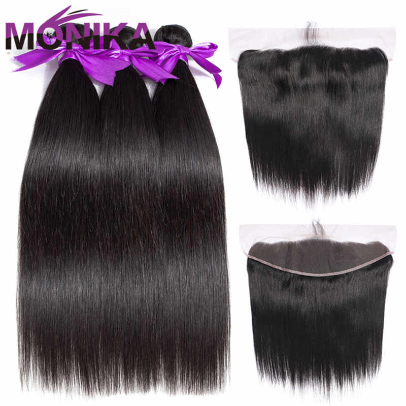 Monika Malaysian Hair 30 inch Bundles with Frontal and Bundles Human Hair Frontal with Bundles Non Remy Hair Bundles and Frontal