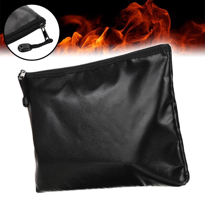 A4 Silicone Cash Cassette Envelope File Folder Fireproof Waterproof Zipper Document Bag Home Office Safe Storage