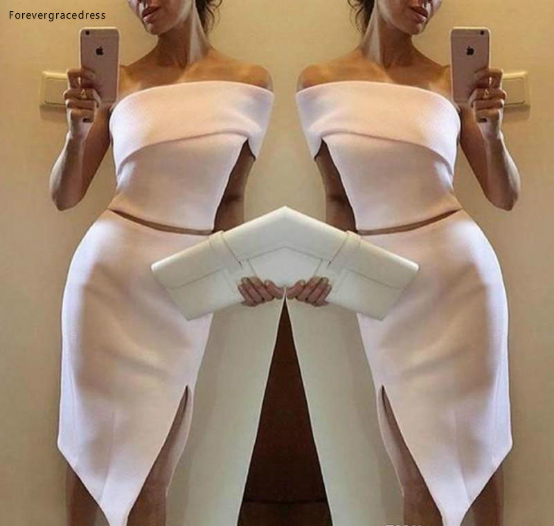 2019 Cheap One Shoulder Sheath   Cocktail     Dress   Two Pieces Semi Club Wear Homecoming Party Gown Plus Size Custom Make