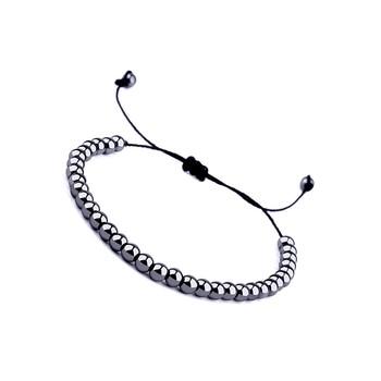 Adjustable round Hematite Bracelets Minimalist Men's Fashion Beads Braclet For Women men Biker Hand Jewelry Pulseira Masculina 1