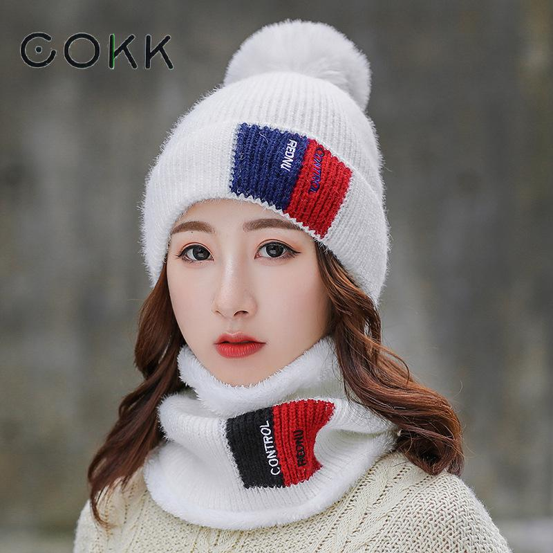 COKK New Winter Hats Scarf Two Piece Set Thick Warm Wool Knitted Hat With Scarf Korean Ladies Hat & Scarf Velvet Thickening Set