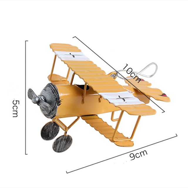 VILEAD Iron Retro Airplane Figurines  Metal Plane Model Vintage Glider Biplane Miniatures Home Decor Aircraft for Kids Gift 5