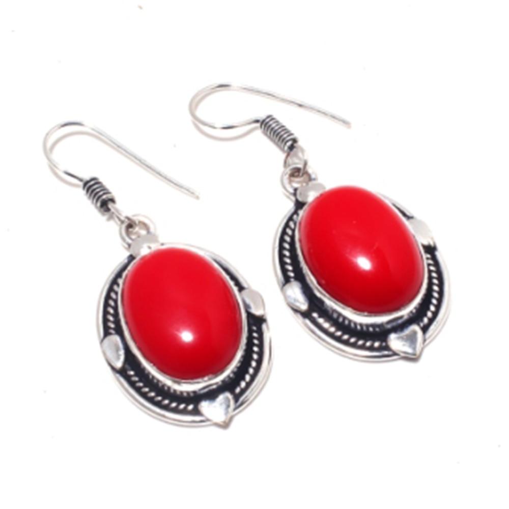 Красные серьги с опалом серебряное покрытие над медью, 46 мм, E4170