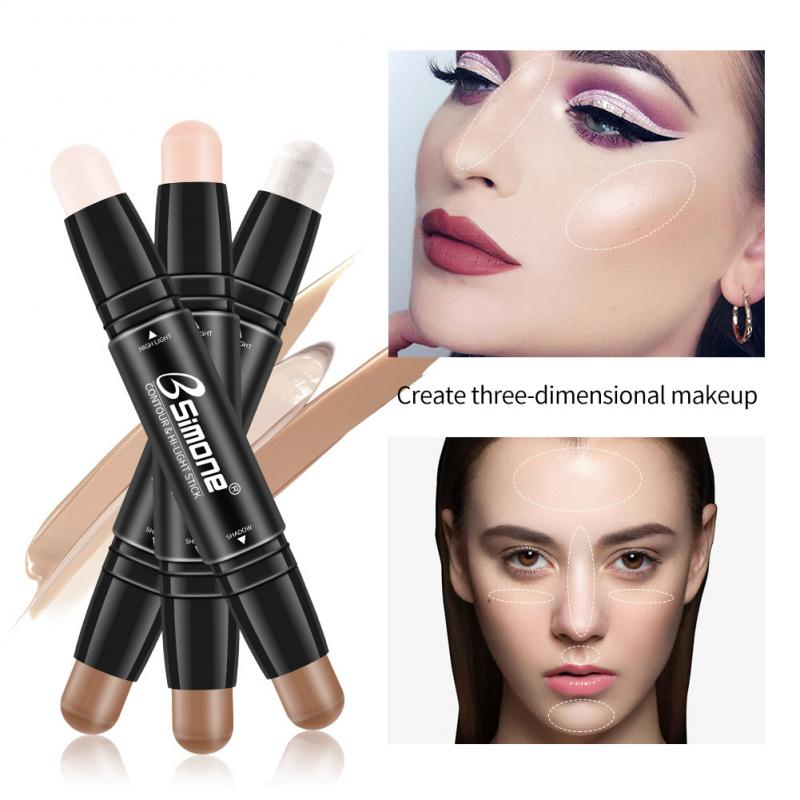 BSIMONE Double-head Concealer Stick Foundation Makeup Full Coverage Contour Face Cream Base Primer Cosmetic Makeup TSLM2