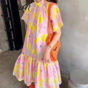 Женское вечернее платье в стиле бохо, желтое, розовое, с цветочным принтом, с оборками, с короткими рукавами, свободное платье средней длины, ...
