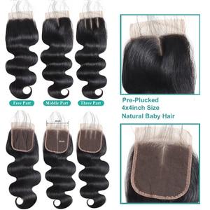 Image 5 - Allove 透明閉鎖バンドル実体波バンドル閉鎖マレーシア人毛 3 バンドルと閉鎖非レミーの髪