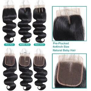 Image 5 - Allove Transparent Closure With Bundles Body Wave Bundles With Closure Malaysian Human Hair 3 Bundles With Closure Non Remy Hair