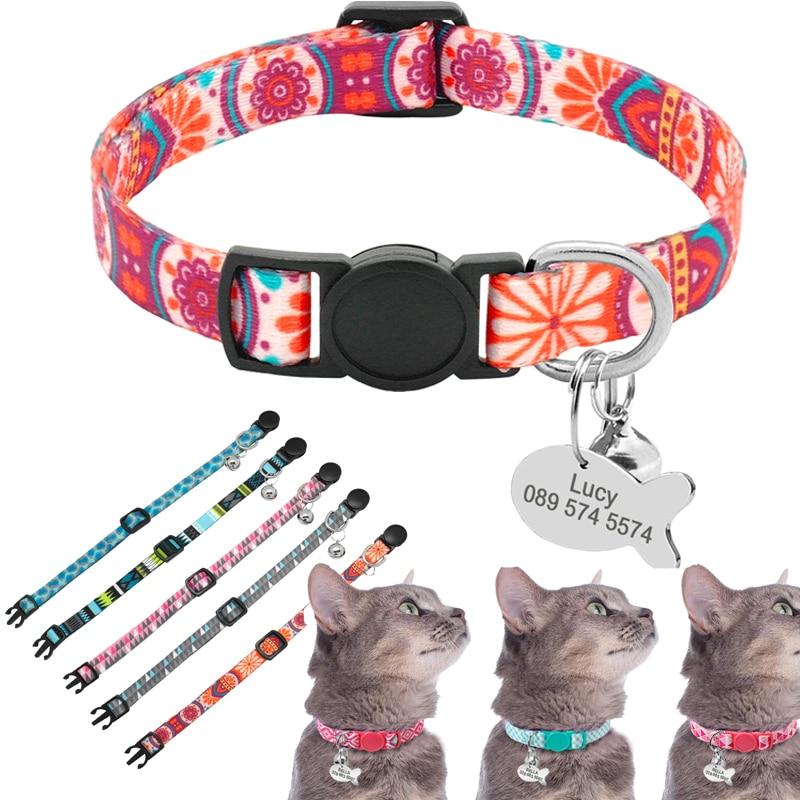 Ошейник для кошек с милым принтом, персонализированный быстросъемный, с выгравированным колокольчиком, Аксессуары для кошек