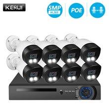 KERUI sistema de cámaras de seguridad H.265, 8 canales, 5MP, Kit de cámara de vigilancia Vídeo impermeable, sistema CCTV IP, registro facial, NVR, POE