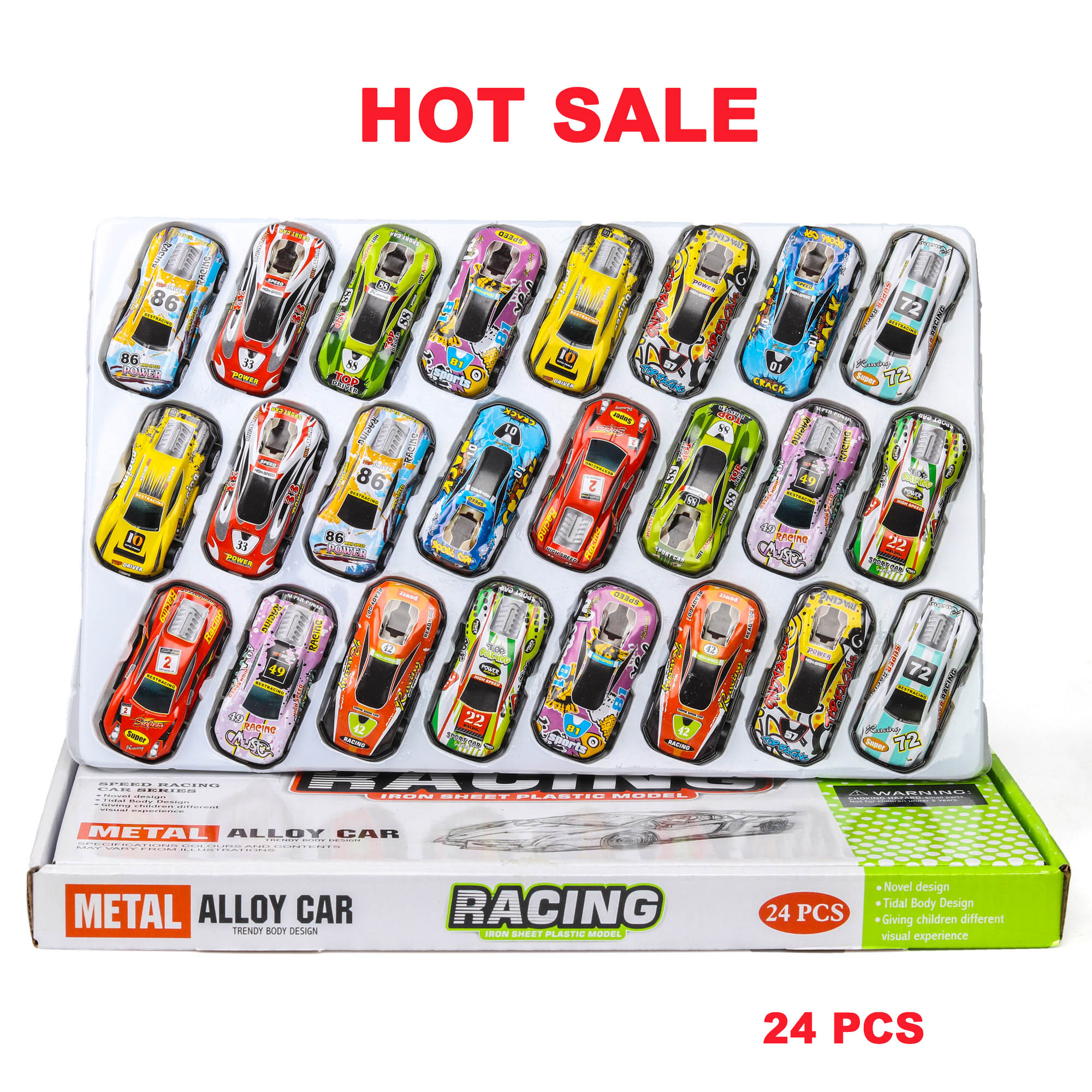 NEW 24 Pcs Hot Wheel Mini Fun Tin Toy Scooter Sports Car Model Pull Back Diecasts Toy Vehicles Metal For Children Car Toys Gift
