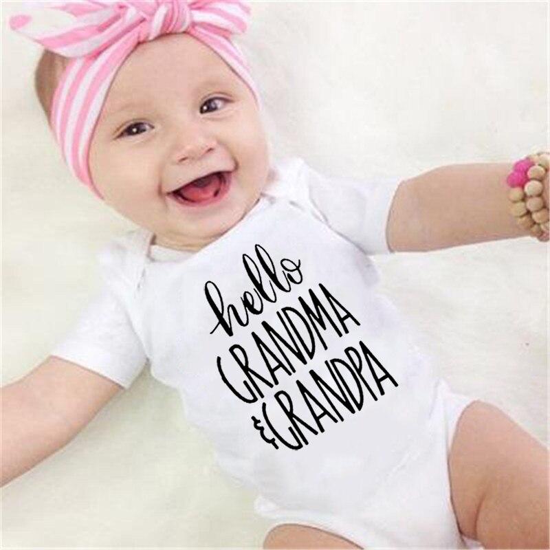 Newborn Cotton Romper Hello Grandma And Grandpa Print Infant Baby Boys Girls Short Sleeve Funny Cute Onesie Jumpsuit Outfit