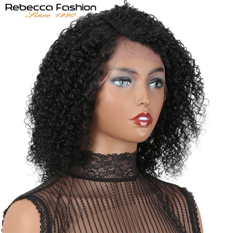 Rebecca Lace Frotal wigs Afro Curly Hair Wig for women Short Bob Curly Pre Plucked Bleached Knots Peruvian human Remy hair Black