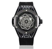 Watch Men Unique Style Geometric Matrix Genuine Leather Waterproof Black Sport Watch Men Luxury Brand Gifts For Men