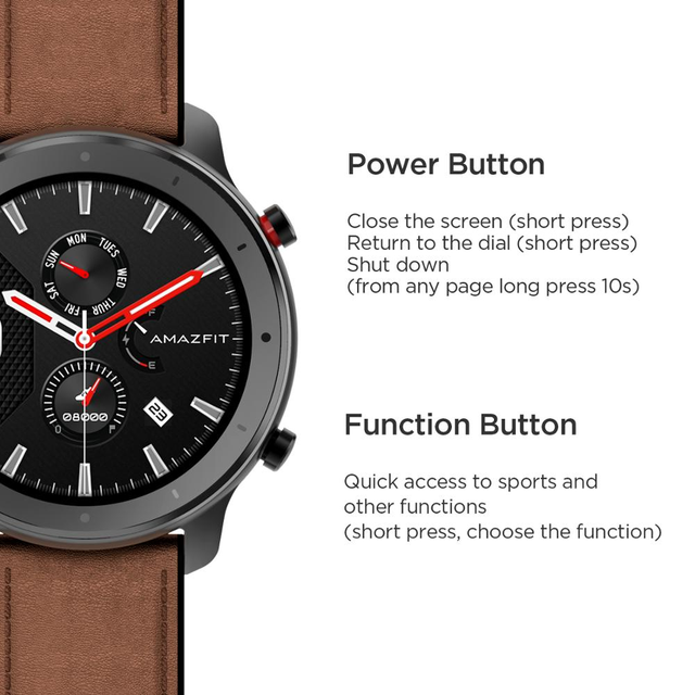 Amazfit GTR 47mm Smart Watch Global Version In Stock GPS In-Build 410mAh Battery 5ATM Waterproof Leather Silicon Strap 5