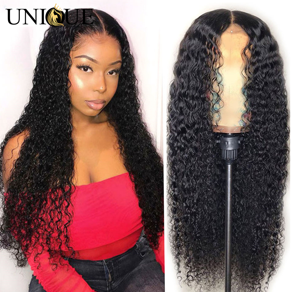 Curly Lace Front Human Hair Wigs Pre Plucked Brazilian Kinky Curly Lace Frontal Wigs For Black Women