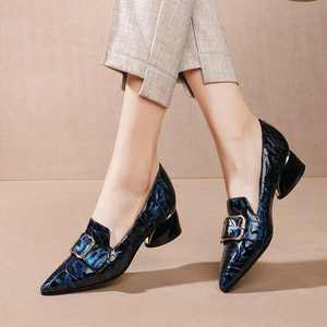 Image 2 - Krazing Pot print mixed colors cow leather fashion elegant belt buckle pointed toe med heels slip on spring daily wear pumps L40