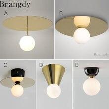 Скандинавские простые золотые светодиодные потолочные светильники