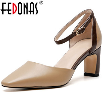 FEDONAS Fashion Summer Sandals For Women New Cow Genuine Leather Pinted ToeShoes Woman Thick Heels Wedding Party Pumps Sandals