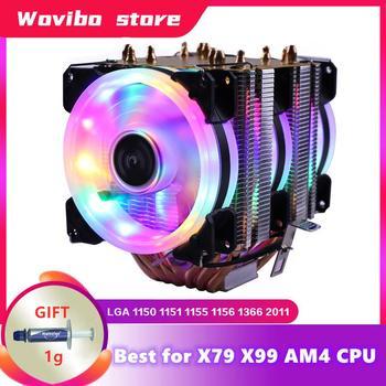 RGB procesor chłodnicy 6 rury chłodzenia wentylator chłodzący dla Intel procesor AMD LGA 1155 1156 1150 1366 2011 X79 2011-3 X99 gniazdo płyta główna tanie i dobre opinie NoEnName_Null CN (pochodzenie) Intel AMD 2 5 W Fluid Łożyska 40000 godzin 2000±10 RPM 20dBA 40 9CFM 1or2 3pin 4pin 6 Copper tubes Cooler