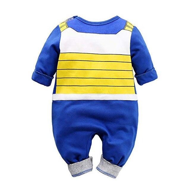 Barboteuse 100% coton costume Dragon Ball Z pour bébé garçon,combinaison à manches longues DBZ pour nouveau-né, déguisement d'Halloween, 2
