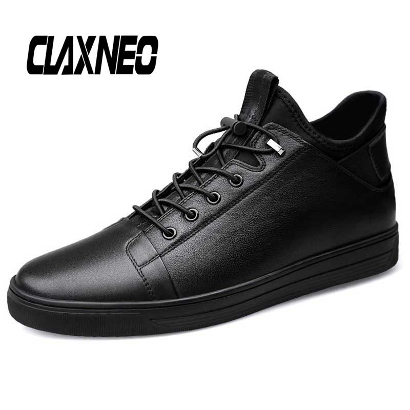 CLAXNEO Man Boots Genuine Leather Autumn Winter Male Casual Shoes Fur Warm Ankle