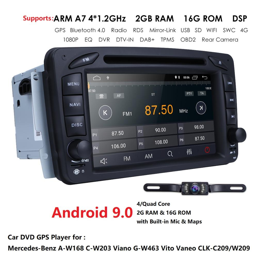 Quad Core <font><b>Android</b></font> 9.0 Car DVD <font><b>GPS</b></font> Player For <font><b>Mercedes</b></font> Benz <font><b>W203</b></font> W209 <font><b>W203</b></font> C209 W693 W463 Viano Vito Mirror-link Radio WIFI BT image