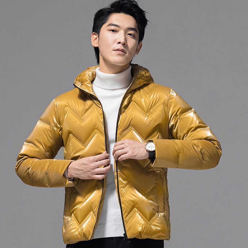 Mens แคนาดาลงเสื้อแคนาดาฤดูหนาว PU เงา Hooded Casual Coat JOKER Solid Thicken Doudoune Homme Ropa แฟชั่นใหม่