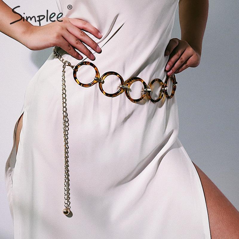 Simplee Circle Metal Chain Belt Women Sweater Dress Fashion Body Ring Chain Belts Geometric Long Waist Chain Ladies Belt 2019