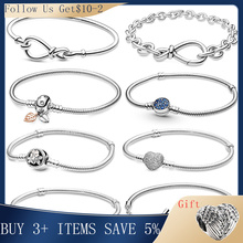 Hot Sale 100% Real  925Silver Bracelet Fit Original Design Beads Charms Bangle DIY Jewelry Making Gift For Women
