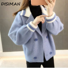 DISIMAN Warm coat with imitation mink nap new cardigan women plus size sweaters fall winter clothes  long sleeve korean