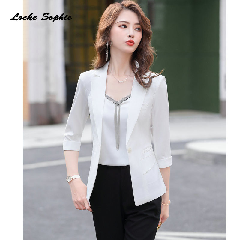Women's Plus Size Blazers Coats 2020 Spring Cotton Blend Splicing Slim Fit Pure Color Jackets Ladies Skinny Small Blazers Suits
