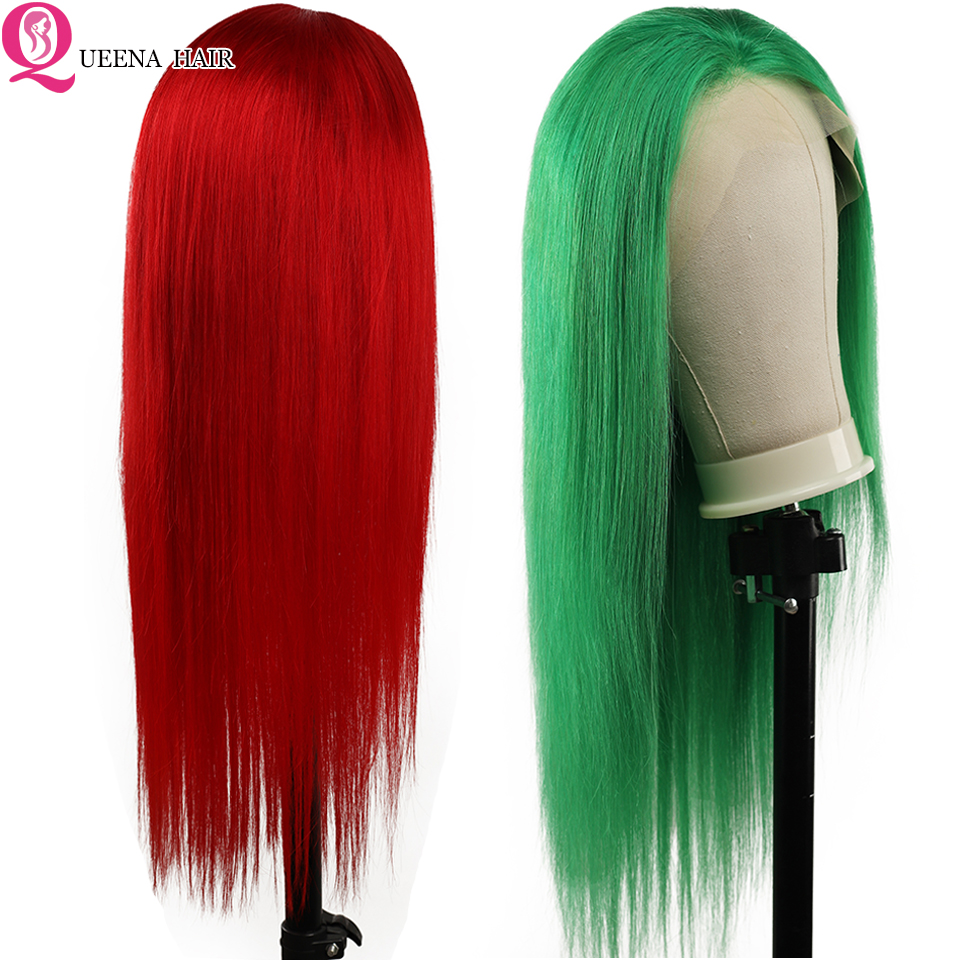 Red Green Lace Front Human Hair Wigs Glueless Lace Frontal Wigs Pre Plucked Long Brazilian Remy 180% Density Straight Hair Lace Wig With Baby Hair Natural Hairline
