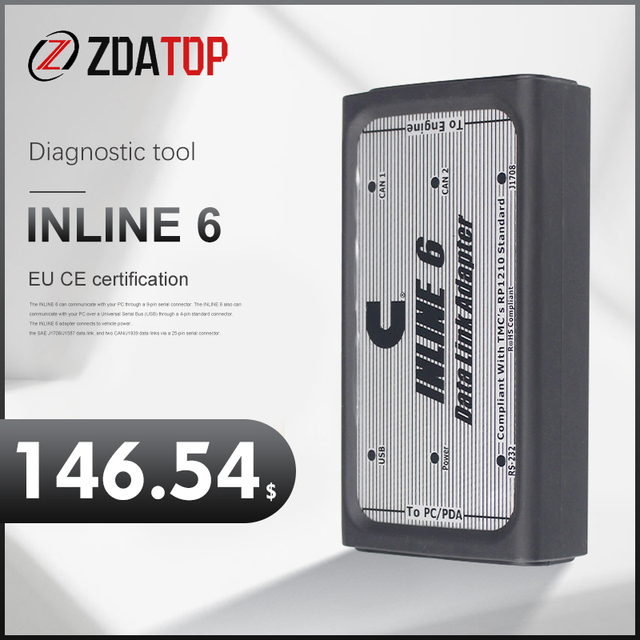 Liên Kết Dữ Liệu Inline6 Adapter Dày Công Cụ Chẩn Đoán Máy Quét Cáp Nội Tuyến 6 Máy Quét Full 8 Cáp Xe Tải Chẩn Đoán V7.62 USB