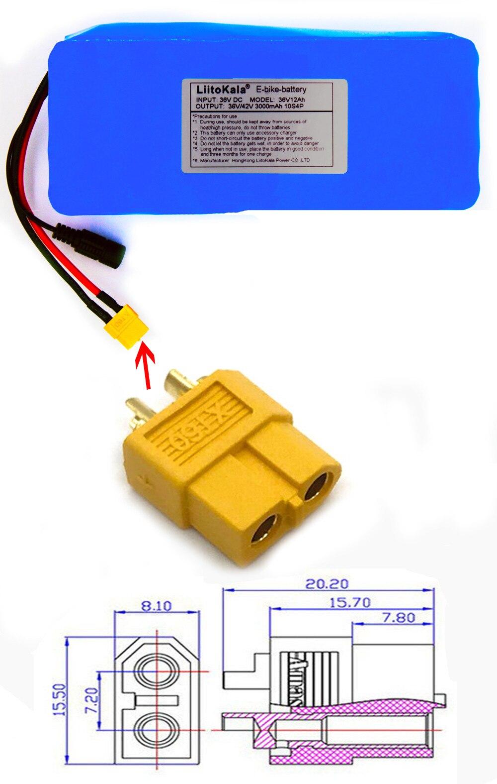 20A 36 Volt com 2A Carga Ebike bateria XT60 Pllug