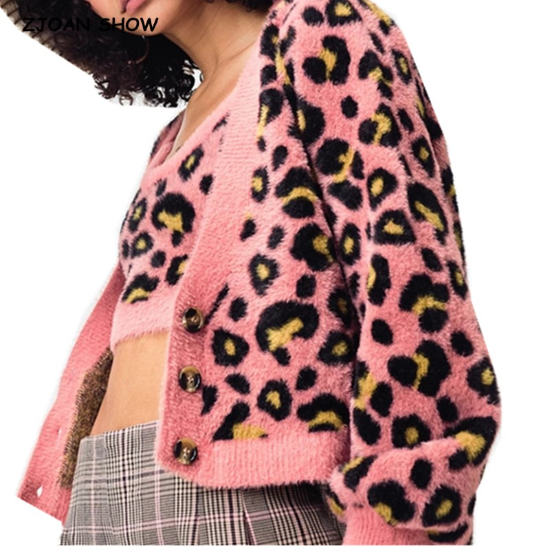 1 Set 2020 Spring Korea Style Vintage Knitting Shaggy Leopard Pattern Cardigan Single-breasted Button Tank Top Sweater Jumper
