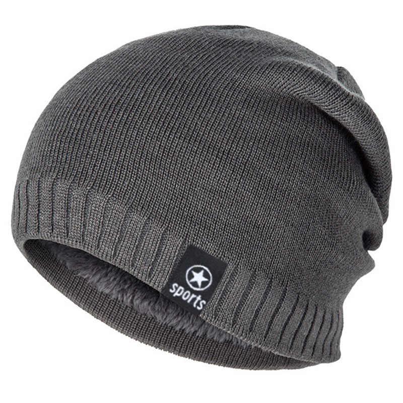 MLTBB kadınlar kış şapka erkekler düz renk örgü bere şapkalar kalın sıcak rahat kafatası açık pamuk kayak Skullies Bonnet
