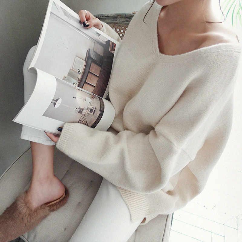 V ネックルーズセーター女性ニットカシミヤプルオーバー秋冬 2019 Casusal 無地ロングジャンパーセーター Mujer