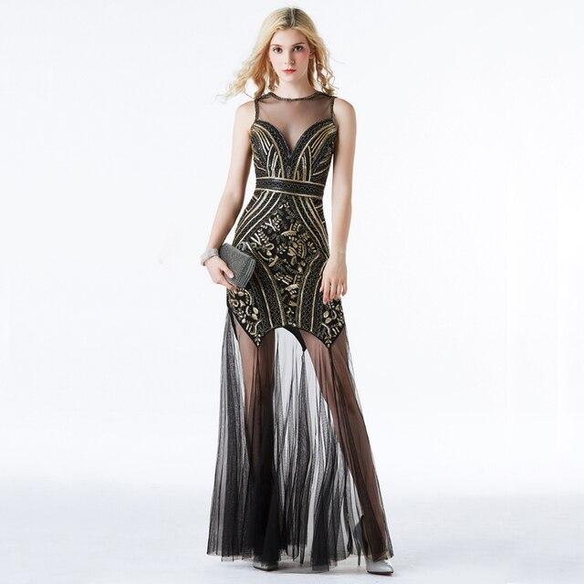 YIDINGZS Vestido largo de noche con pedrería de lentejuelas, negro y dorado, Sexy, para fiesta y noche, YD919