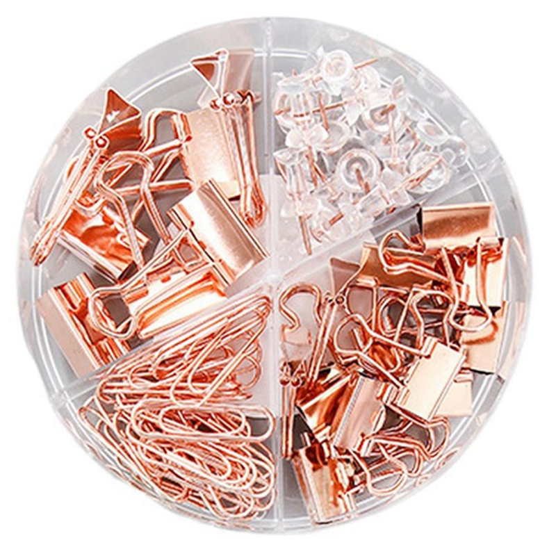 100Pcs Binder Clips Paper Clips Push Pins Sets with with Acrylic Box for Office Accessories Organizer School Supplies
