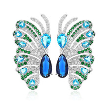 VERY GIRL New Brand Gorgeous Colorful Micro Pave Zircon Big Butterfly Stud Earring for Women Dubai  Bridal Earrings