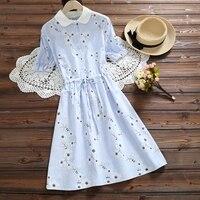 Mori Girl Sweet Summer Women Kawaii Dress Turn down Collar Cotton Linen Mujer Vestido Elegant Pink Blue Floral Embroidery Dress