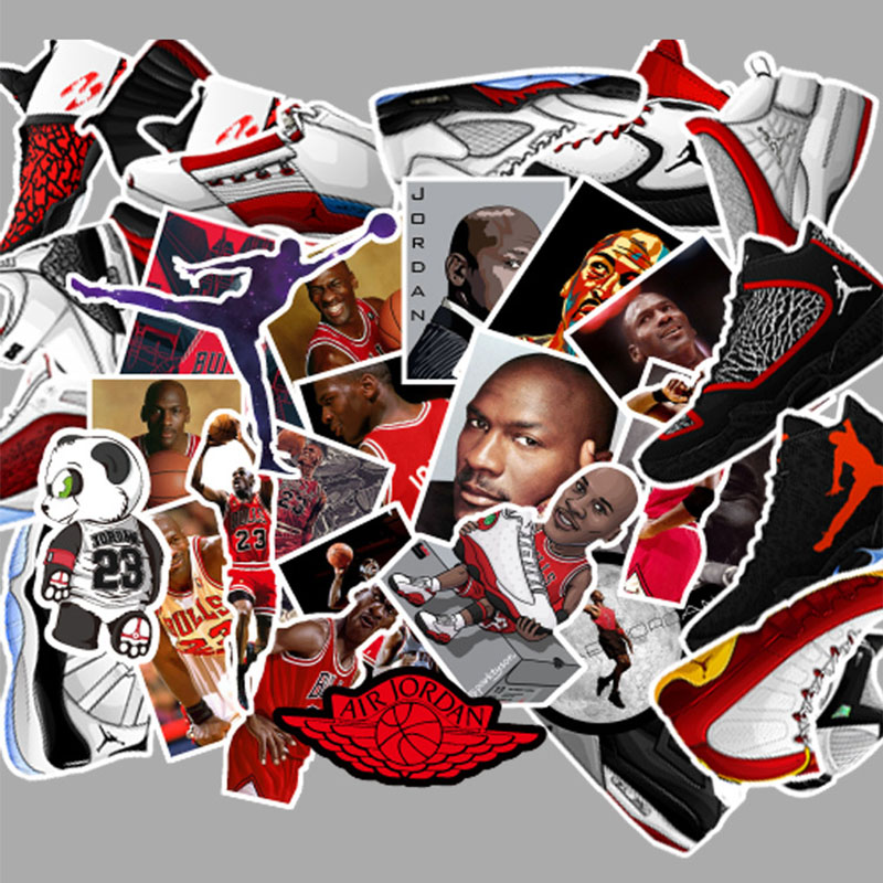 52pcs Not Repeat Basketball Stars Sneakers Notebook Bike Luggage Box Tide Brand <font><b>Shoes</b></font> <font><b>Jordan</b></font> Graffiti <font><b>Jordan</b></font> Waterproof Sticker image